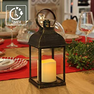"""MammyGol Vintage Decorative Lanterns with Timer - 10"""" Outdoor Candle Lantern with LED Flickering Flameless Candles - Hanging Lanterns for Wedding Party Decoration - Plastic with Bronze Undertones"""