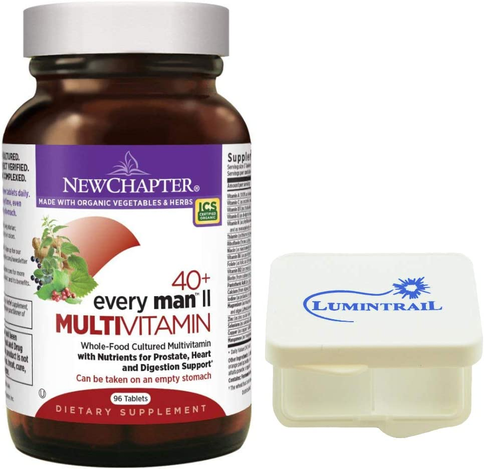 New Chapter Every Man II 40 , Men s Multivitamin with Probiotics, Selenium, B Vitamins, Vitamin D3, Organic Non-GMO Ingredients – 96 Tablets Bundled with a Lumintrail Pill Case