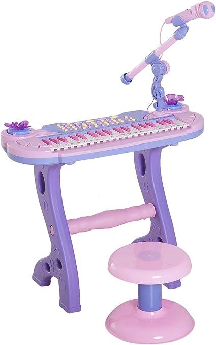 HOMCOM Piano Infantil 37 Teclas Teclado Electrónico Juego de Piano Regalo Juguete Educativo para Niños +3 Años con Micrófono Taburete Luces y 22 ...