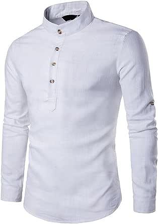 OHQ Camisa De Blusa De Hombre Botones De Tela De Lino De ...