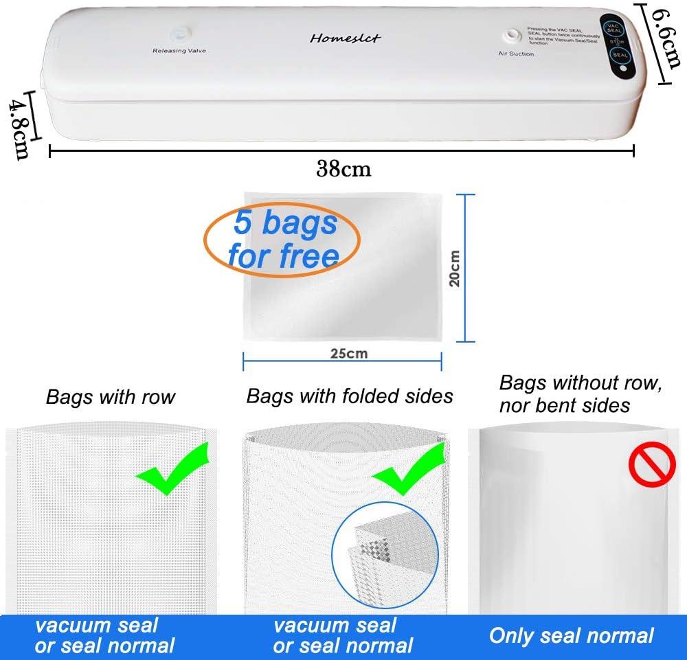 Sigillatore Sottovuoto con 1 Tubo Accessorio e 5pz Sacchetti Sottovuoto per Alimenti Homeslct Macchina Sottovuoto Professionale per Alimenti