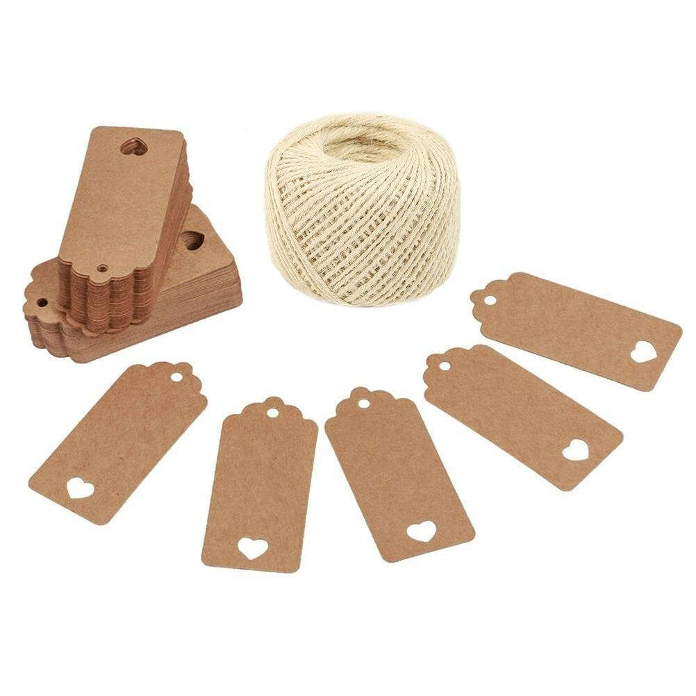 Lwestine 300PCS Hollow Heart Kraft Paper Gift Tags Wedding Party Favours, With 164 Feet Natural Jute Twine(White)