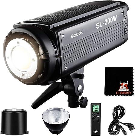 Todo para el streamer: GODOX SL-200W LED Luz Video 200W Foco Led 5600K Gran Potencia Bowens Mount para fotográfico Estudio Video Youtube Video Foto Studio(SL200W LED Light)