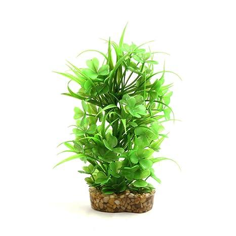 sourcingmap Planta decorativa de plástico verde para acuario, terrario, decoración de interiores