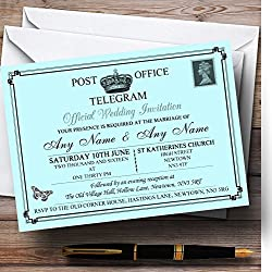 Vintage Telegram Elegant Aqua Personalized Evening Reception Invitations