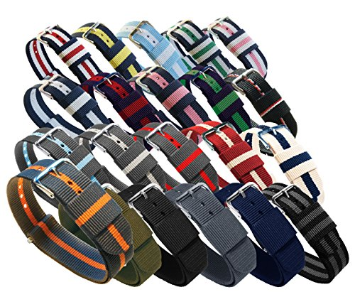 BARTON Watch Bands - Choice of Color, Length & Width (18mm, 20mm, 22mm or 24mm) - Ballistic Nylon