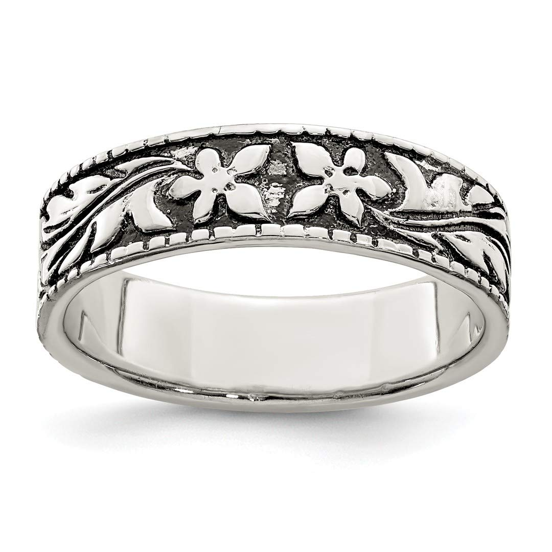 b379f3706 Amazon.com: 925 Sterling Silver Floral Band Ring Flowers/leaf Fine Jewelry  For Women Gift Set: Jewelry