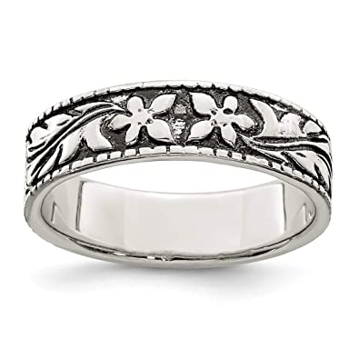 4a5d971f8 925 Sterling Silver Floral Band Ring Size 6.00 Flowers/leaf Fine Jewelry  Gifts For Women