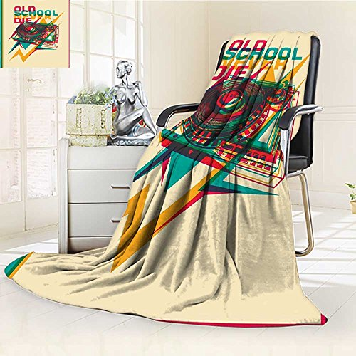 YOYI-HOME Cotton Thermal Duplex Printed Blanket,Vintage Pop Art Style Old School Record Player Turntable with Trippy Zigzags Music Party Multi Soft and Breathable Cotton/W59 x - Turntable Technique Cover