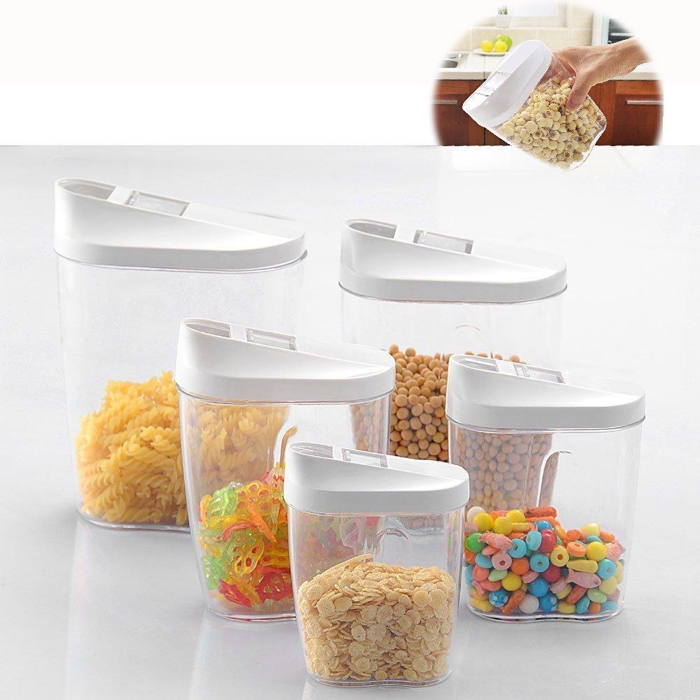 Itian Set di 5 pezzi Conservazione degli alimenti Contenitori di Blocco in Plastica Acrilica, Ideale per Zucchero, Tè, Caffè, Riso, Pasta con Airtight Coperchi