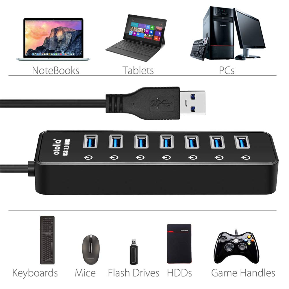 Powered USB Hub 3.0, Atolla 7-Port USB Data Hub Splitter with One Smart Charging Port and Individual On/Off Switches and 5V/4A Power Adapter USB Extension for MacBook, Mac Pro/Mini and More. by atolla