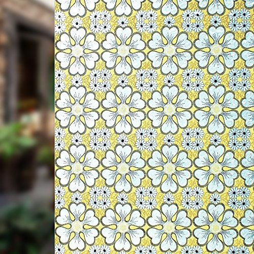 DuoFire Decorative Film Privacy Window Film Stained Glass Film Yellow flowers Pattern No Glue Anti-UV Removable Window Cling Non-Adhesive window privacy film D95062, (35.4in. x 78.7in.) 90cm x (Stained Glass Cling)