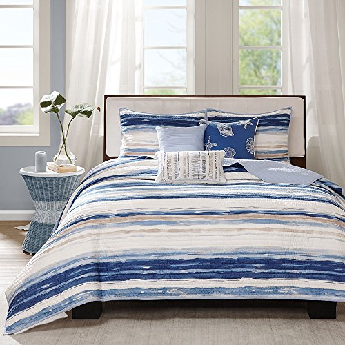 6 Piece Coastal Stripes Watercolor Like Patterned Coverlet Set Full/Queen Size, Printed Bright Geometric Nautical Wavy Horizontal Lines Bedding, Bold Whimsical Geo Classic Modern Design, Blue, Ivory by SE