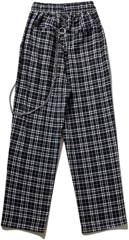 Casual Trousers Women Men Plaid Pants Streetwear Harajuku Girls Wide Leg Pants