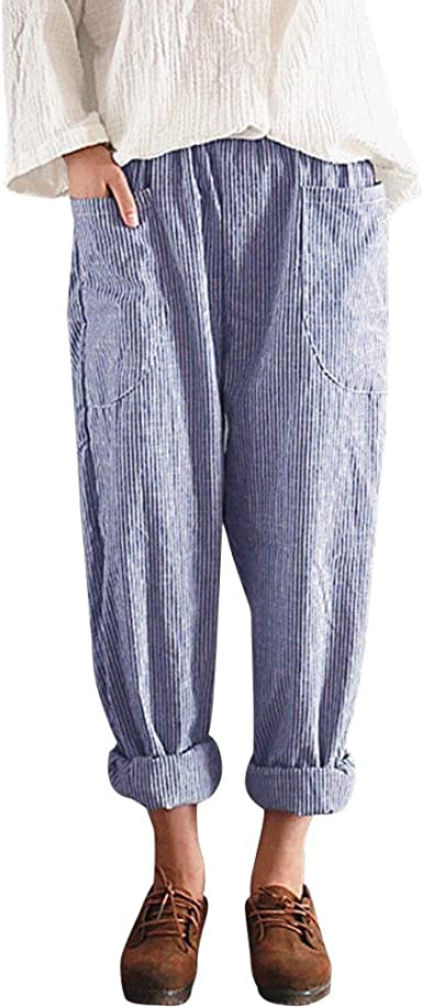 PAOLIAN Pantalones Anchos para Mujer Verano 2018 Casual Pantalones de Vestir Fiesta con Bolsillo Estampado Rayas Algodón Lino Cintura Alta Elástica Palazzo Pantalones Suelto señora (S, Azul): Amazon.es: Ropa y accesorios