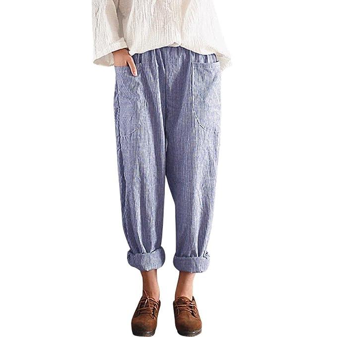 a800fd4f3 PAOLIAN Pantalones Anchos para Mujer Verano 2018 Casual Pantalones de  Vestir Fiesta con Bolsillo Estampado Rayas