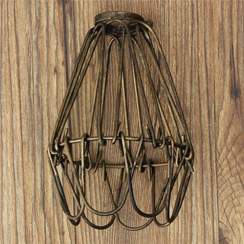 Hitommy Vintage Pendant Trouble Light Bulb Guard Cage Ceiling Hanging Lampshade Fixture For Indoor Lighting - Bronze