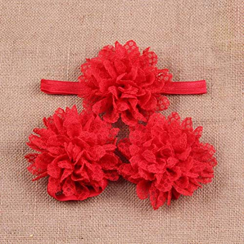 11e24b7aeebe4 NUWFOR Baby Girls Toddler Flower Hairband Headband Flower Barefoot Sandal  RD Red