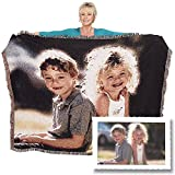 Woven Photo Throw Blanket Full Size 60x80 custom made from your photos. This woven photo throw blanket has your photos weaved into the throw. No cracking or fading, machine washable and drier safe.