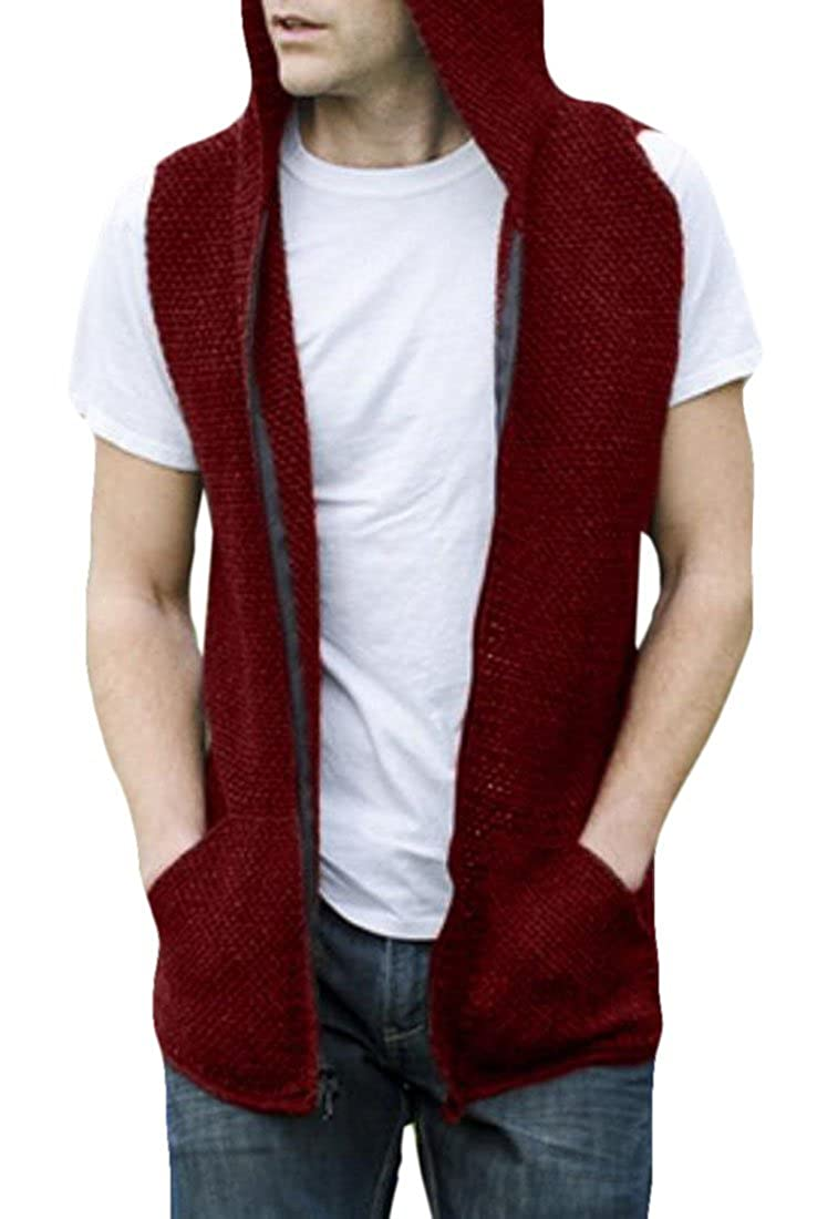 Nanquan Men Stylish Sleeveless Knit Hoode Pockets Zip Solid Color Sweatshirts