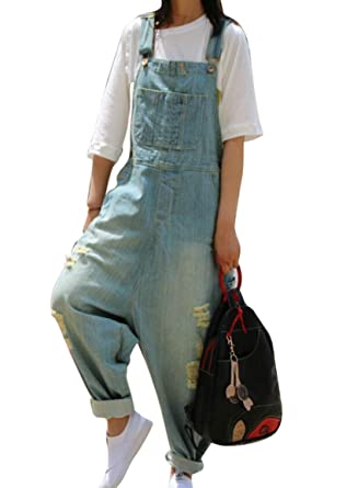 6e67e067723 Vska Women s Casual Denim Ripped Hole Bib Baggy Overalls Jumpsuit Pants  Light Blue OS