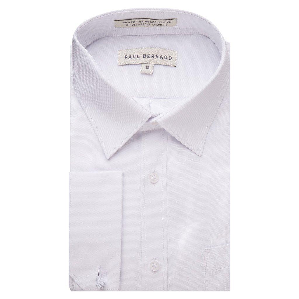 Paul Bernado Boy's 2204REG French Cuff Pique Design Dress Shirt - White - 16 Husky