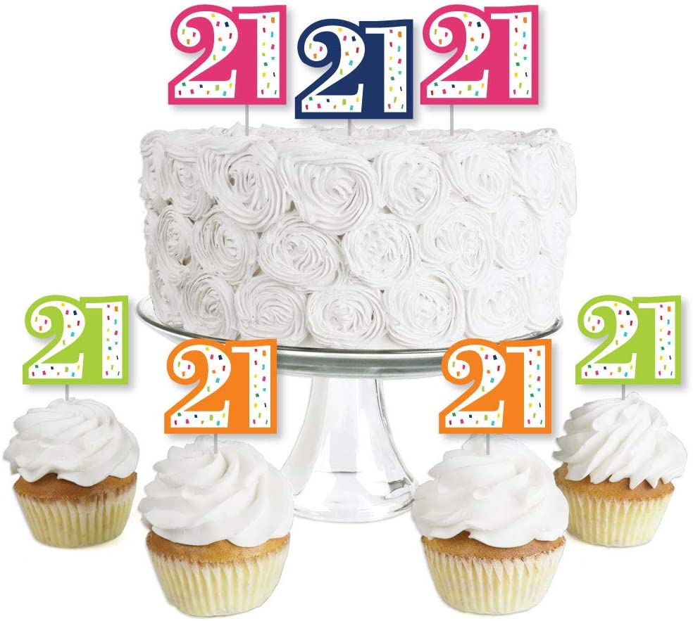 Amazon Com 21st Birthday Cheerful Happy Birthday Dessert Cupcake Toppers Colorful Twenty First Birthday Party Clear Treat Picks Set Of 24 Toys Games