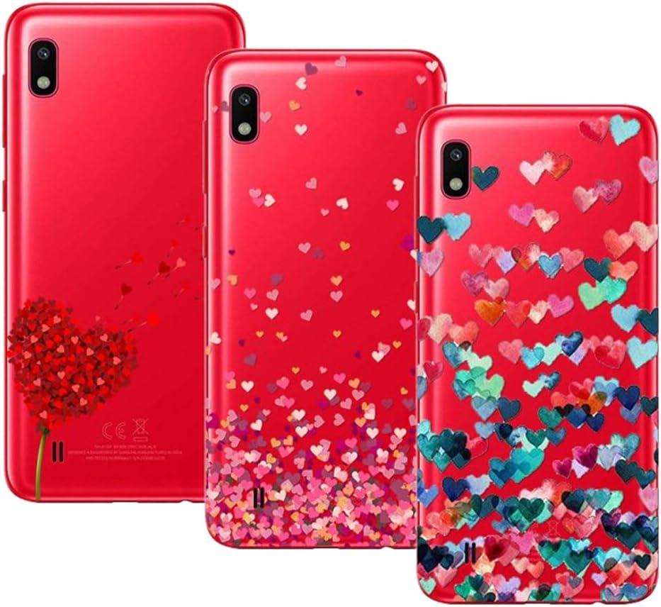 Young & Ming Compatible para Samsung Galaxy A10 Funda, (3 Pack) Transparente Ultrafina Carcasa Delgado antigolpes Resistente, Amor
