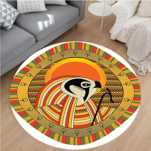 Nalahome Modern Flannel Microfiber Non-Slip Machine Washable Round Area Rug-ration of Ancient Egyptian God Sun Ra in Colored Design Spirit Animal Culture Print Multi area rugs Home Decor-Round 67'' by Nalahome