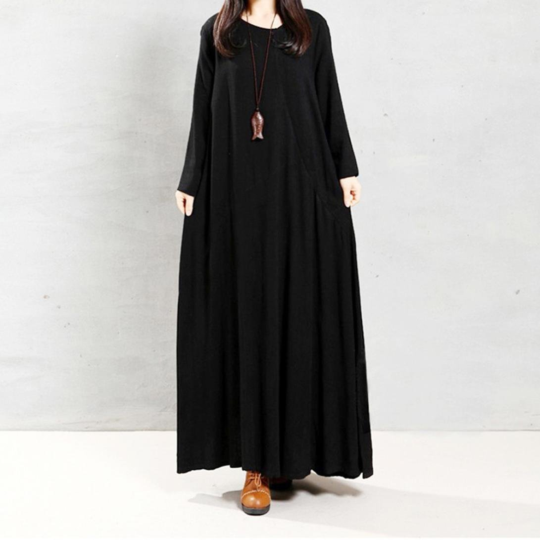 1249aff75224c Swyss Plus Size Dress,Womens Pure Color Cotton Linen Long Sleeves Casual  Loose Pocket Maxi Robe Dresses