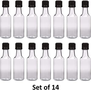 50 ml (1.7 Oz.) Premium Quality Round PET clear small plastic bottle with black temper evident caps, Food Grade (14 Pack) Made In USA