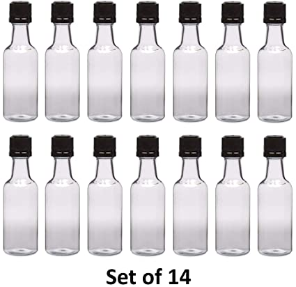 37a90934d712 50 ml (1.7 Oz.) Premium Quality Round PET clear small plastic bottle with  black temper evident caps, Food Grade (14 Pack) Made In USA