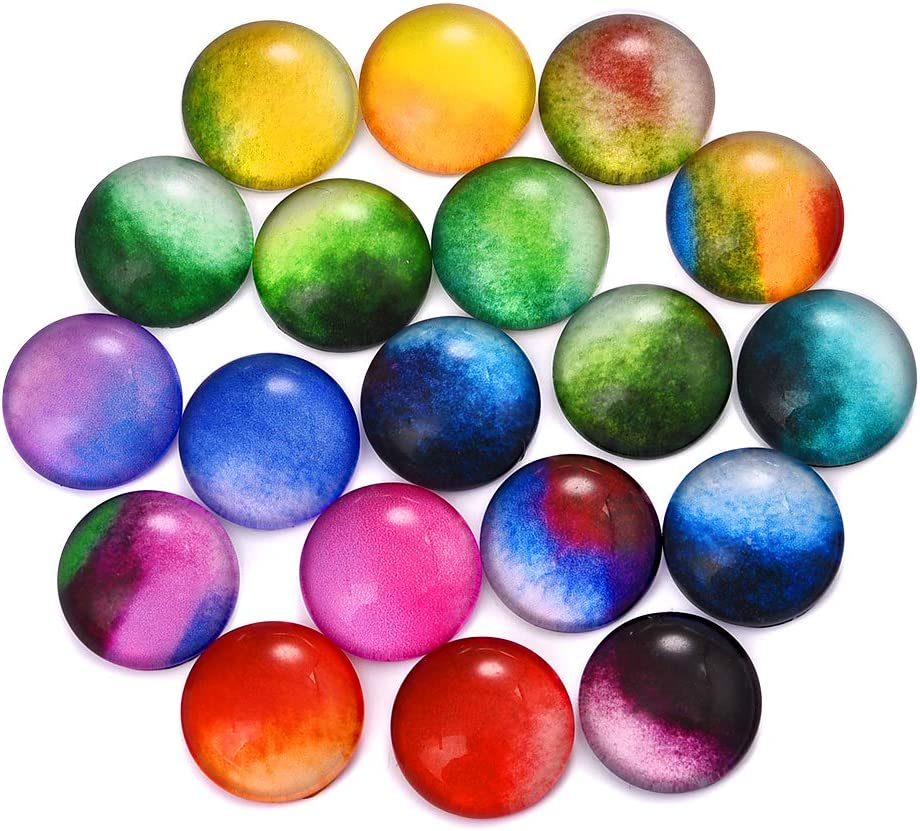 DROLE 100Pcs 12mm Glass Flatback Scrapbooking Dome Cabochons for Scrapbooking DIY Jewlery Printed Cabs for 12mm Bezel Blank Colorful Color