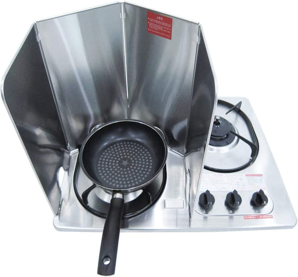 Splatter Guard for Cooking - Grease Splatter Screen - 4 Sided Splatter Guard Compact Type - Stainless Steel - Unfold 33.26 in x 14.17 in - Fold 8.26 in x 14.17 in x 0.86 in