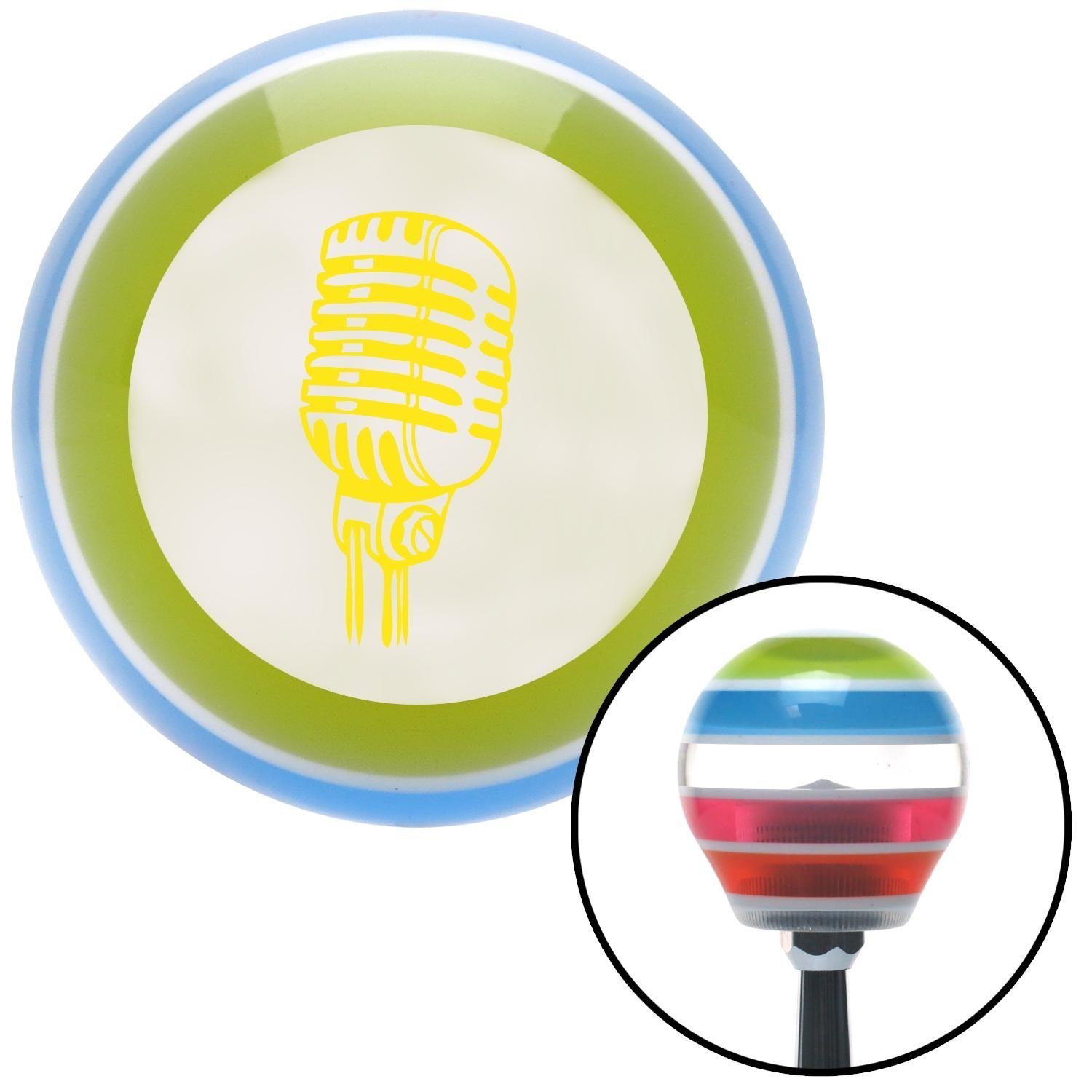 Yellow Old School Microphone American Shifter 135251 Stripe Shift Knob with M16 x 1.5 Insert