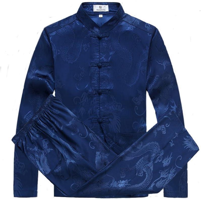 ZOOBOO chino ropa Tang traje – Disfraz de china antigua tradicional macho tangzhuang de artes marciales Kung Fu chaqueta de manga larga trajes camisa uniforme gamuza para hombres y mujeres, hombre, azul: