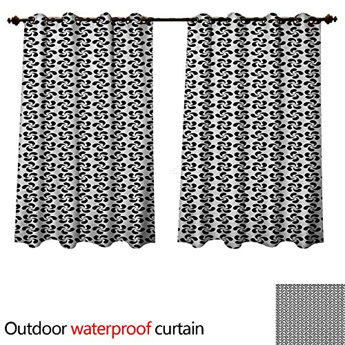Pinwheel Outdoor Curtain for Patio Flower Leaves Shaped Wind Wheels in Modern Tones Classic Artistic Pattern W63 x L72(160cm x 183cm)