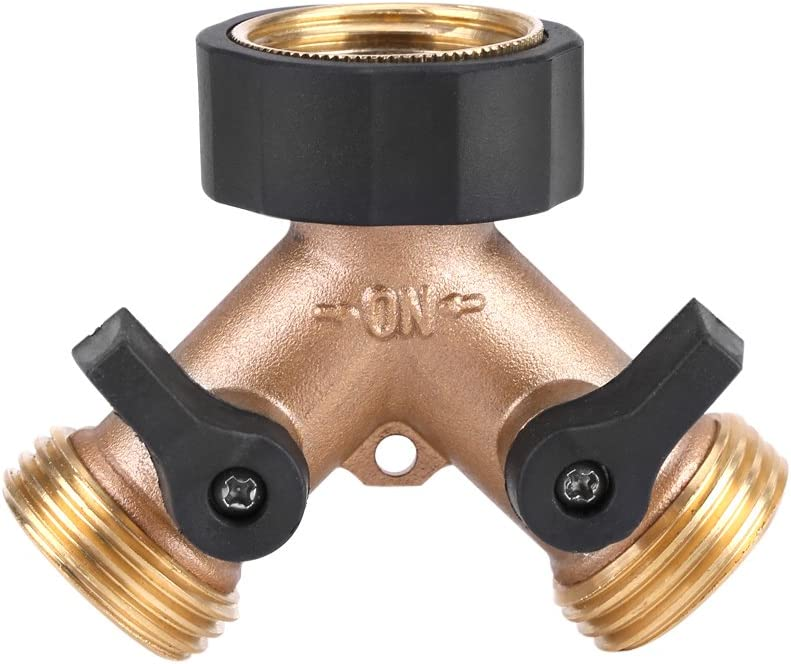 """Heavy Duty Brass Garden Tap Splitter 2 Way,Y Hose Splitter 3/4"""" Tap Hose Connector Adapter for Garden Irrigation"""