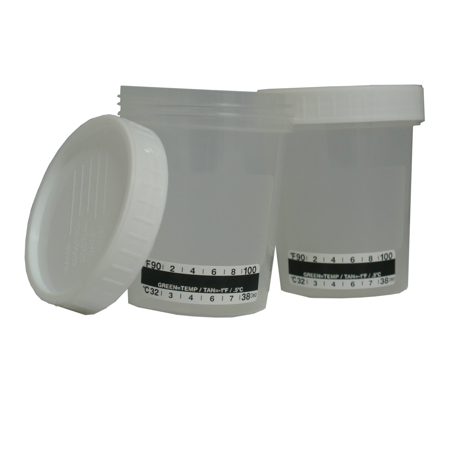 40 x Urine Specimen Cups with Lids and Temperature Strip 4oz - Individually Wrapped Container - Sterile Collection