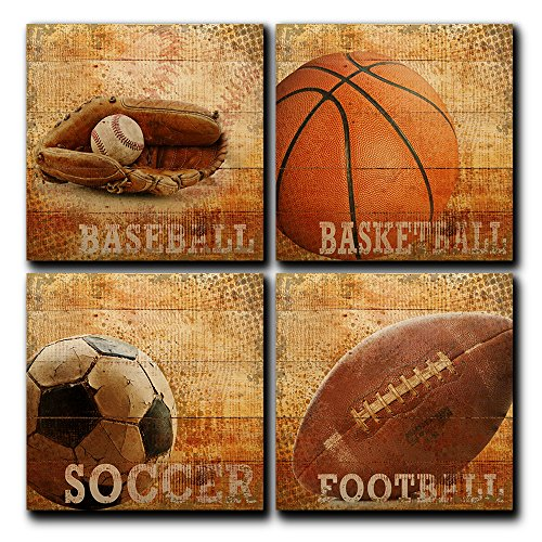 Rustic Sports Four Pack Baseball Basketball Soccer Football Sport Collection 4 Piece Panel