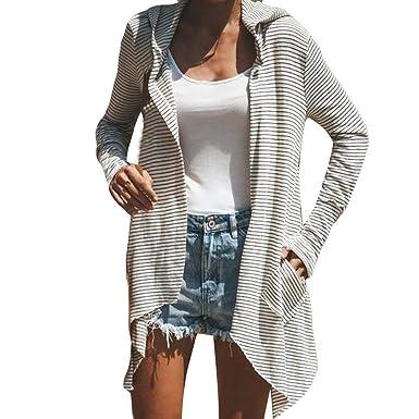 Manteau Femme Hiver Cardigan à Rayures Chic, Koly Kimono Cape à Capuche Longue irrégulier Mode Loose Blousons Manteaux Grande Taille Doux Mince Top