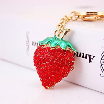 Amazon.com   Jzcky Shzrp Strawberry Shape Crystal Rhinestone Keychain Key  Chain Sparkling Key Ring Charm Purse Pendant Handbag Bag Decoration Holiday  Gift ... 16c17fa67