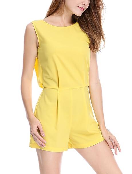 501e88f55c9 Allegra K Women s Sleeveless Crew Neck Lace Insert Back Romper XS Yellow
