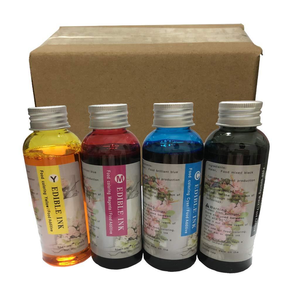 Yaink Made 4PK 100ML Edible Ink Bottles Refill kit PGI-250 PGI-225 PGI-270 PGI-280 CLI-281 Cartridge for iX6520 MG7520 MG7720 MG5720 iP7220 iP3600 MG6620 MG6821 MX299 IP7220 TS5020 Printers Cake Ink
