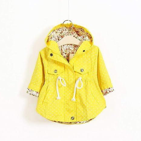 Bebé Niñas Floral impresión prendas cortaviento chaquetas Bebé Manga Larga con Capucha de Abrigo/Amarillo/Rosa(1-3 Años/Niñas)