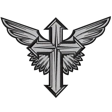 VEGASBEER LARGE WINGED CROSS WINGS REFLECTIVE EMBROIDERED IRON ON PATCH DECORATIVE CHRISTIAN COLORS 12quot