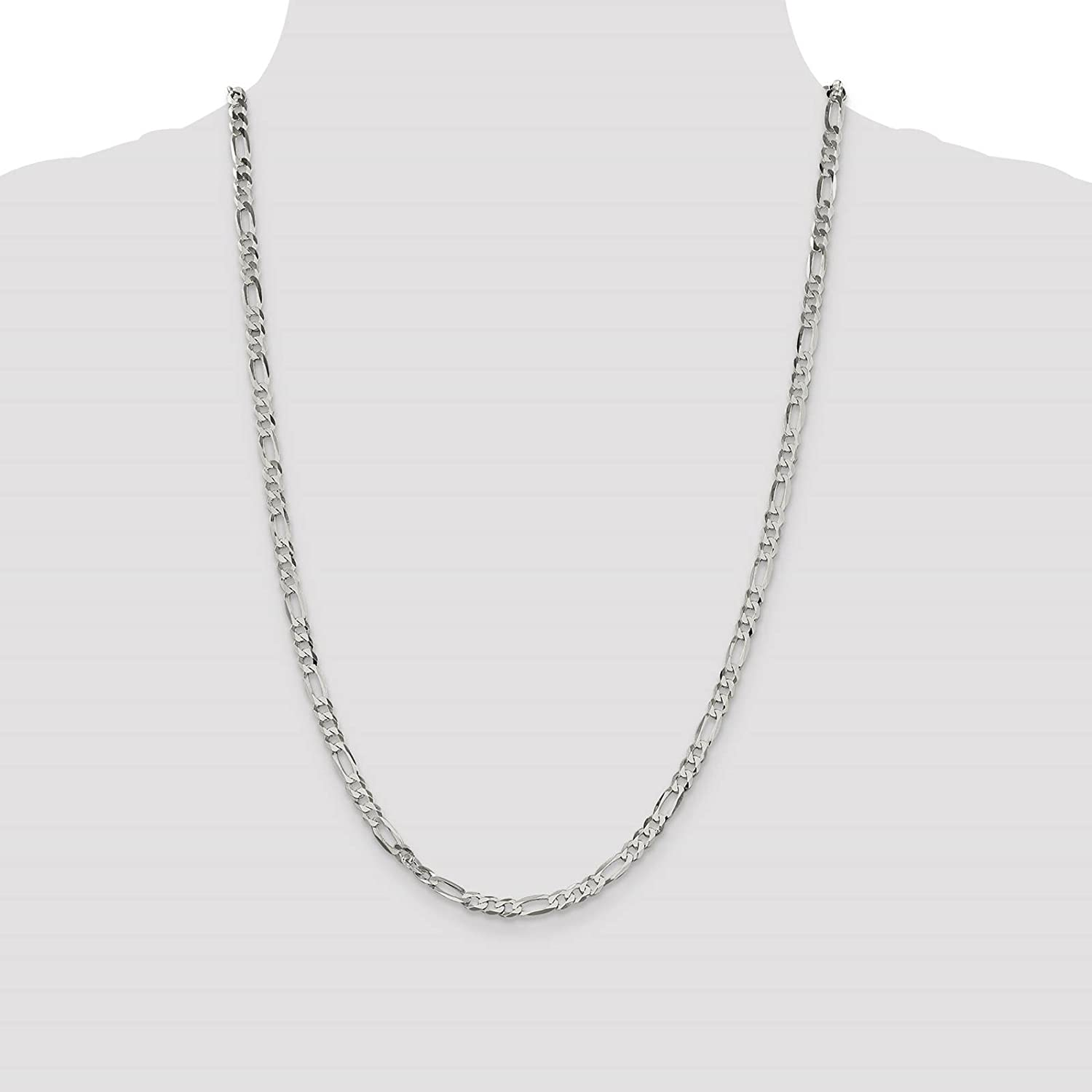 Sterling Silver 4.5mm Polished Flat Figaro Chain