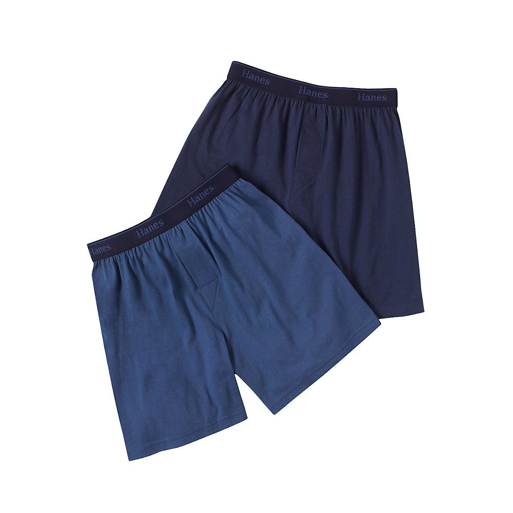 Hanes Big Boys' Exposed Waistband Solid Knit Boxer B711XP