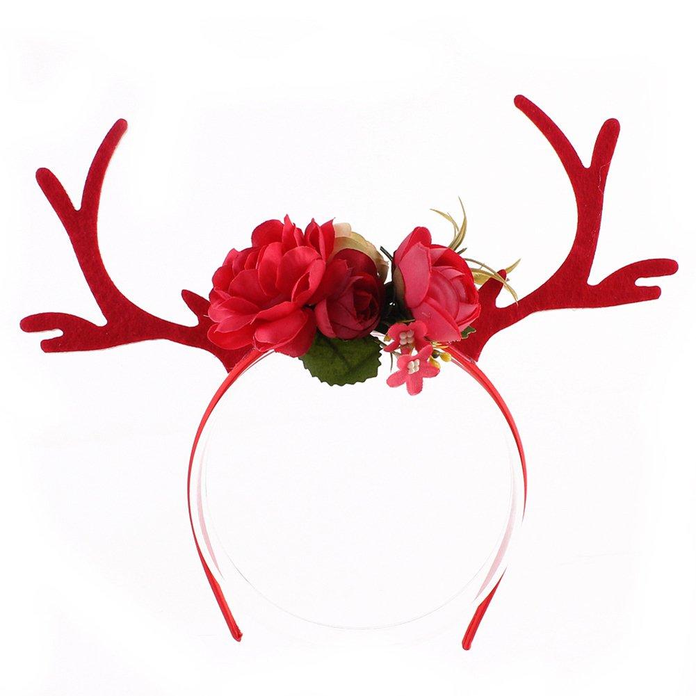 Demarkt 1 Pcs Fashion Hot Little Plum Blossom Christmas Antler Ear Headband DIY Deer Headband (Khaki) 9.5cm