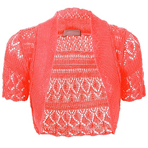 - Thever Women Short Sleeve Knitted Crochet Shrug Bolero Cardigan Ladies Crop Top (M(10-12), Coral)